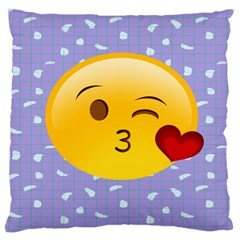 Face Smile Orange Red Heart Emoji Large Cushion Case (two Sides)