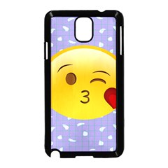 Face Smile Orange Red Heart Emoji Samsung Galaxy Note 3 Neo Hardshell Case (black)