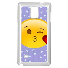 Face Smile Orange Red Heart Emoji Samsung Galaxy Note 4 Case (white) by Alisyart