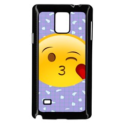 Face Smile Orange Red Heart Emoji Samsung Galaxy Note 4 Case (black) by Alisyart