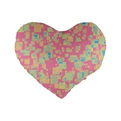Pattern Standard 16  Premium Flano Heart Shape Cushions by Valentinaart
