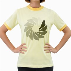 Flower Transparent Shadow Grey Women s Fitted Ringer T Shirts