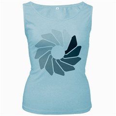 Flower Transparent Shadow Grey Women s Baby Blue Tank Top