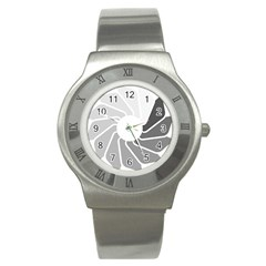 Flower Transparent Shadow Grey Stainless Steel Watch