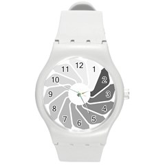 Flower Transparent Shadow Grey Round Plastic Sport Watch (m)
