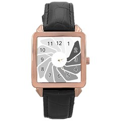 Flower Transparent Shadow Grey Rose Gold Leather Watch  by Alisyart