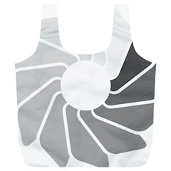 Flower Transparent Shadow Grey Full Print Recycle Bags (l)