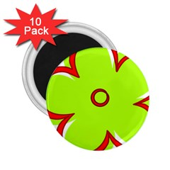 Flower Floral Red Green 2 25  Magnets (10 Pack)  by Alisyart