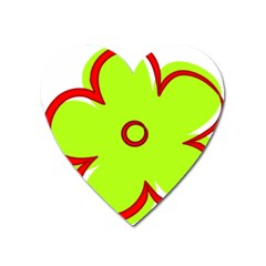 Flower Floral Red Green Heart Magnet