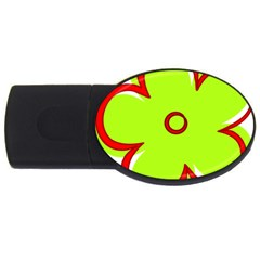 Flower Floral Red Green Usb Flash Drive Oval (2 Gb) by Alisyart