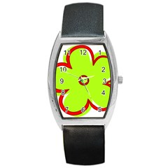 Flower Floral Red Green Barrel Style Metal Watch by Alisyart