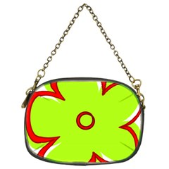 Flower Floral Red Green Chain Purses (one Side)