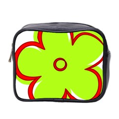 Flower Floral Red Green Mini Toiletries Bag 2 Side by Alisyart