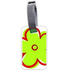 Flower Floral Red Green Luggage Tags (one Side)