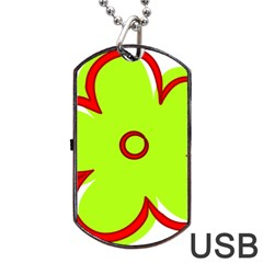 Flower Floral Red Green Dog Tag Usb Flash (one Side)