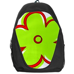 Flower Floral Red Green Backpack Bag by Alisyart