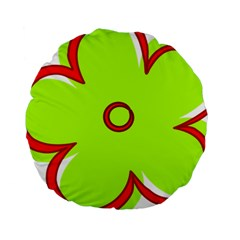 Flower Floral Red Green Standard 15  Premium Round Cushions by Alisyart
