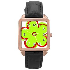 Flower Floral Red Green Rose Gold Leather Watch