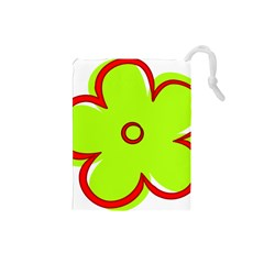 Flower Floral Red Green Drawstring Pouches (small)  by Alisyart