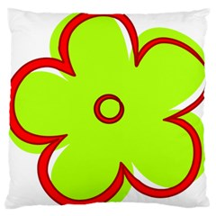 Flower Floral Red Green Large Flano Cushion Case (one Side)