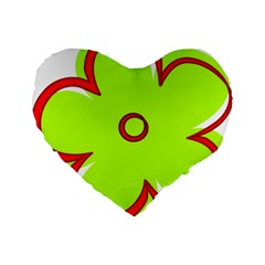 Flower Floral Red Green Standard 16  Premium Flano Heart Shape Cushions by Alisyart
