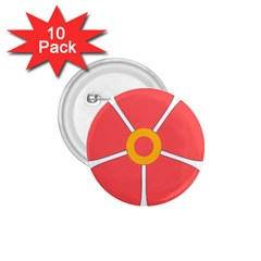 Flower With Heart Shaped Petals Pink Yellow Red 1 75  Buttons (10 Pack)
