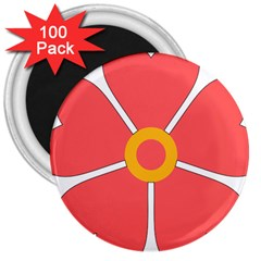 Flower With Heart Shaped Petals Pink Yellow Red 3  Magnets (100 Pack)