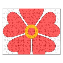 Flower With Heart Shaped Petals Pink Yellow Red Rectangular Jigsaw Puzzl