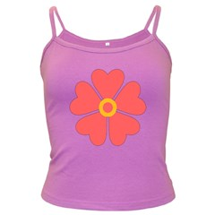 Flower With Heart Shaped Petals Pink Yellow Red Dark Spaghetti Tank