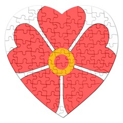 Flower With Heart Shaped Petals Pink Yellow Red Jigsaw Puzzle (heart) by Alisyart