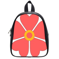 Flower With Heart Shaped Petals Pink Yellow Red School Bags (small)