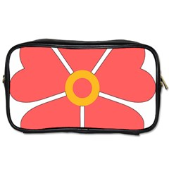 Flower With Heart Shaped Petals Pink Yellow Red Toiletries Bags 2 Side