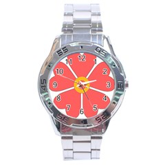 Flower With Heart Shaped Petals Pink Yellow Red Stainless Steel Analogue Watch