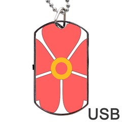 Flower With Heart Shaped Petals Pink Yellow Red Dog Tag Usb Flash (one Side)