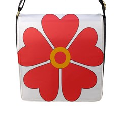 Flower With Heart Shaped Petals Pink Yellow Red Flap Messenger Bag (l)  by Alisyart