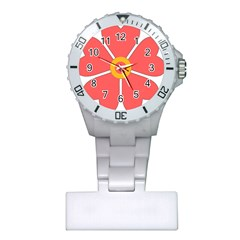 Flower With Heart Shaped Petals Pink Yellow Red Plastic Nurses Watch by Alisyart