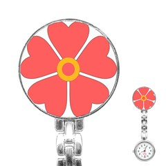 Flower With Heart Shaped Petals Pink Yellow Red Stainless Steel Nurses Watch