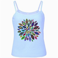 Chromatic Flower Petals Rainbow Baby Blue Spaghetti Tank