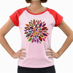 Chromatic Flower Petals Rainbow Women s Cap Sleeve T Shirt
