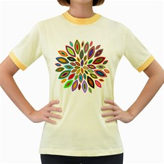 Chromatic Flower Petals Rainbow Women s Fitted Ringer T Shirts