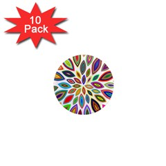 Chromatic Flower Petals Rainbow 1  Mini Magnet (10 Pack)  by Alisyart