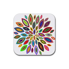 Chromatic Flower Petals Rainbow Rubber Square Coaster (4 Pack)  by Alisyart