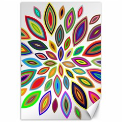 Chromatic Flower Petals Rainbow Canvas 12  X 18   by Alisyart