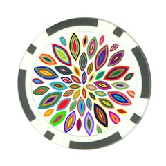 Chromatic Flower Petals Rainbow Poker Chip Card Guard