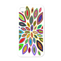 Chromatic Flower Petals Rainbow Apple Iphone 4 Case (white) by Alisyart