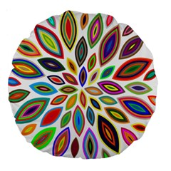 Chromatic Flower Petals Rainbow Large 18  Premium Round Cushions by Alisyart