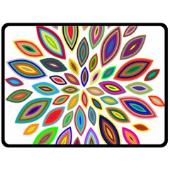Chromatic Flower Petals Rainbow Double Sided Fleece Blanket (large)