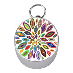 Chromatic Flower Petals Rainbow Mini Silver Compasses by Alisyart
