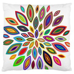 Chromatic Flower Petals Rainbow Large Flano Cushion Case (one Side)