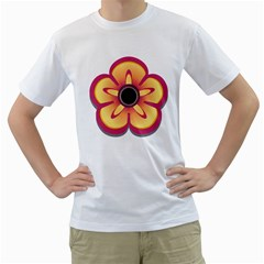 Flower Floral Hole Eye Star Men s T Shirt (white) (two Sided)